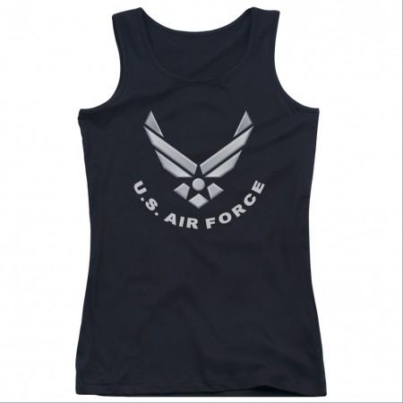 US Air Force Logo Black Juniors Tank Top