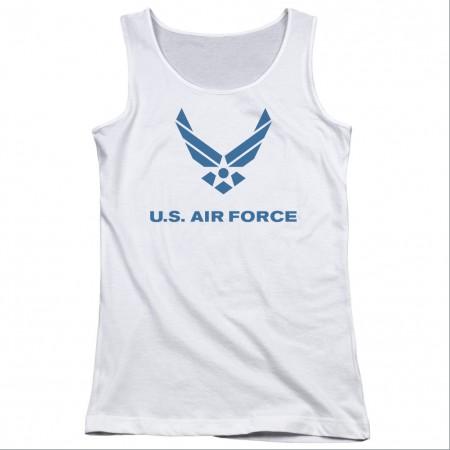 US Air Force Logo White Juniors Tank Top