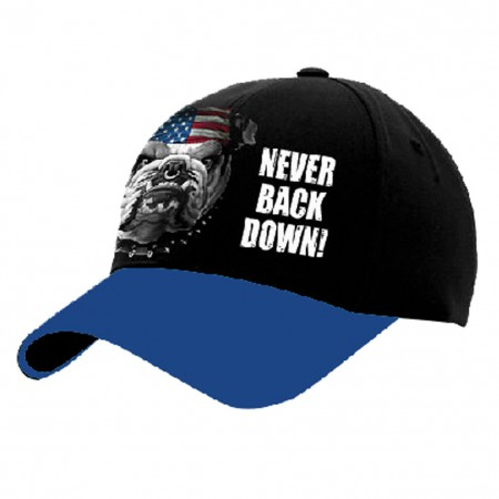USA Patriotic Never Back Down Bulldog Baseball Hat