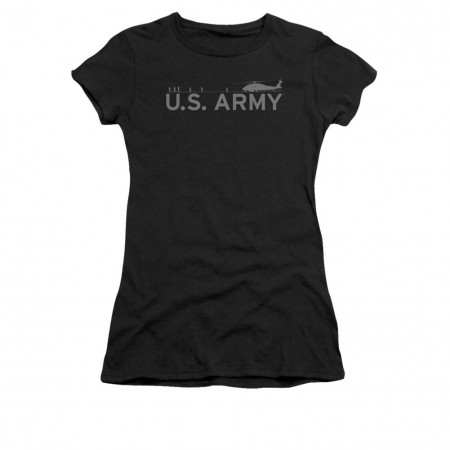 US Army Helicopter Black Juniors T-Shirt