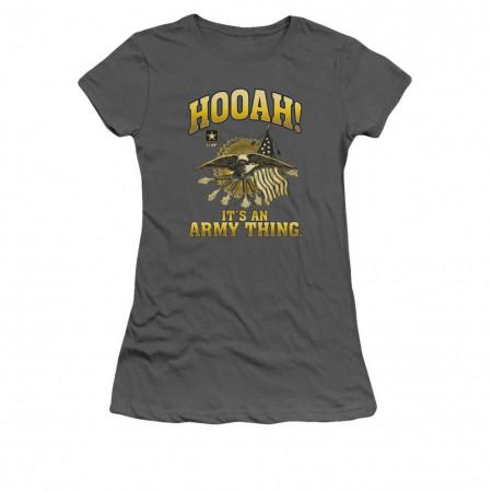 US Army Hooah Gray Juniors T-Shirt