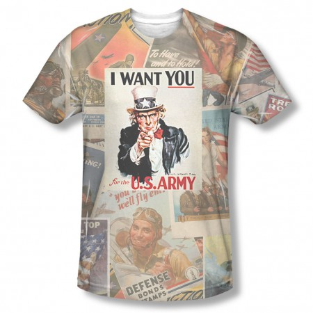 US Army Vintage Collage Sublimation T-Shirt