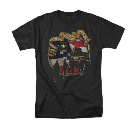 US Army Duty Honor Country Black T-Shirt