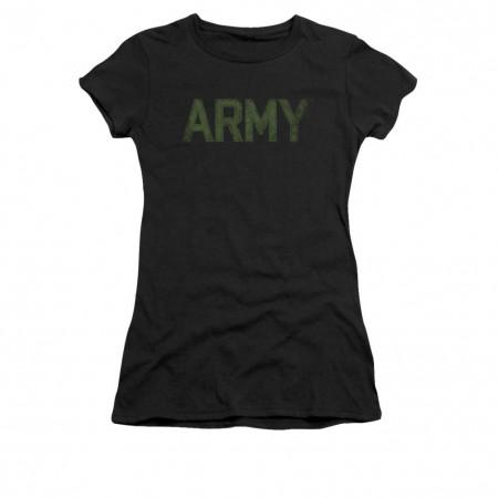 US Army Type Logo Black Juniors T-Shirt