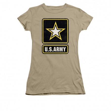 US Army Logo Brown Juniors T-Shirt
