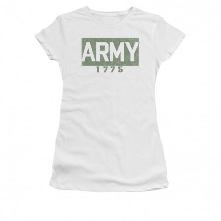 US Army 1775 Block Logo White Juniors T-Shirt