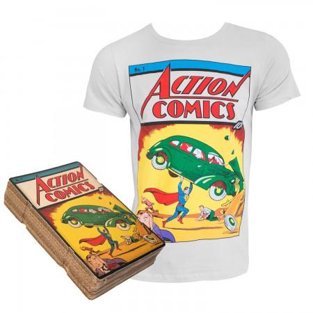 Superman Men's Light Gray Action Comics #1 Boxed T-Shirt