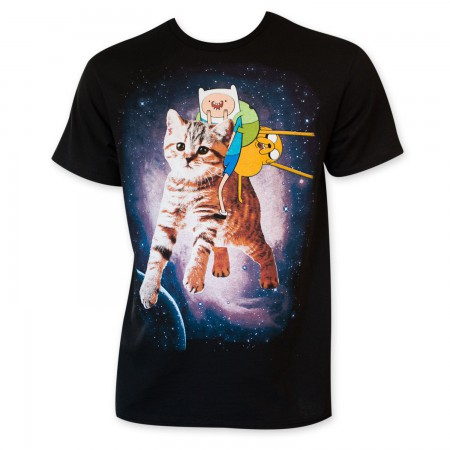 Adventure Time Galatic Cat Men's Black T-Shirt