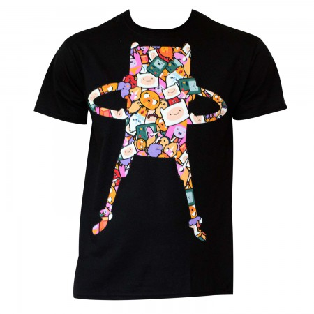Adventure Time Men's Black Pop Art Finn T-Shirt