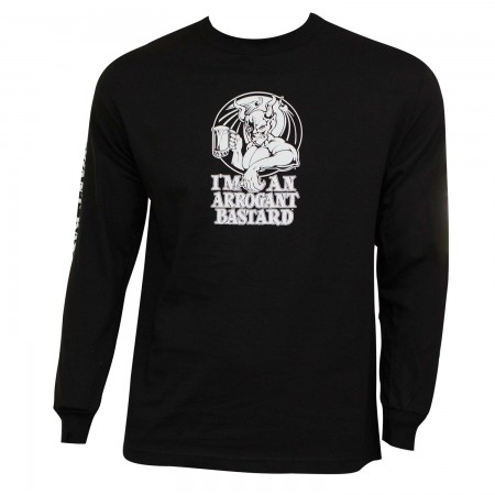 Arrogant Bastard Ale Long Sleeve Men's Graphic Black T-Shirt