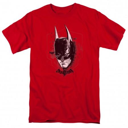 Batman Painted Mask Arkham Men's Red T-Shirt