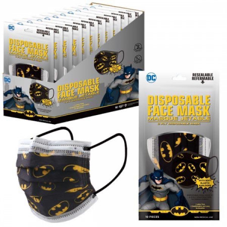 Batman Symbol All Over 10-Pack of Disposable Youth Face Masks