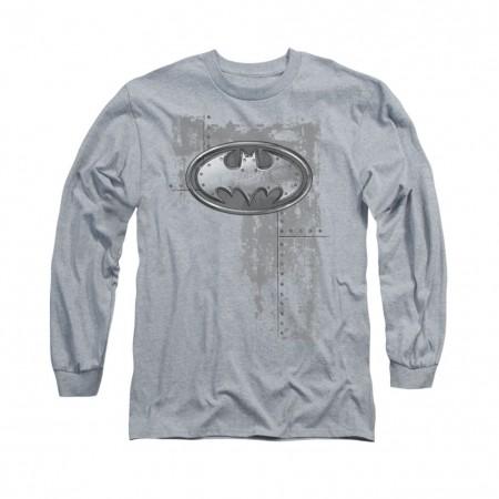 Batman Rivited Metal Gray Long Sleeve T-Shirt