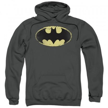 Batman Classic Distressed Logo Grey Hoodie