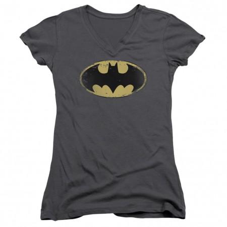 Batman Distressed Shield Logo Women's V-Neck T-Shirt