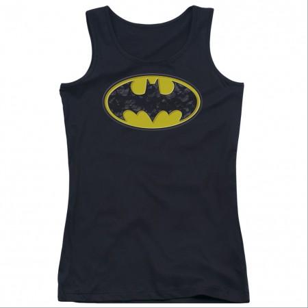 Batman Bats In Logo Black Juniors Tank Top