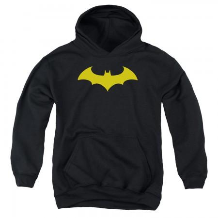 Batman Yellow Hush Logo Youth Hoodie