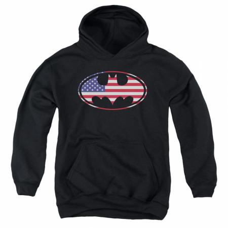 Batman Patriotic American Flag Youth Hoodie