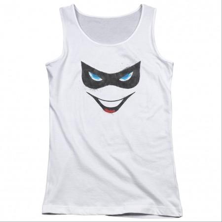 Harley Quinn Face White Juniors Tank Top