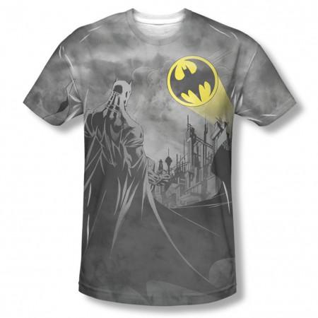 Batman Men's Gray Sublimation Heed The Call T-Shirt
