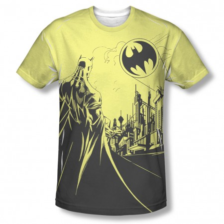 Batman Bat Signal Yellow Sublimation T-Shirt