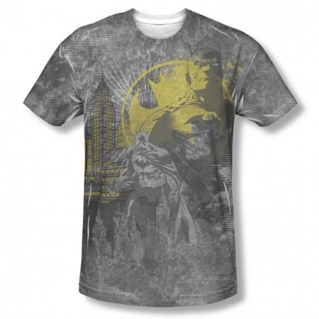Batman Men's Gray Dark City Sublimation T-Shirt