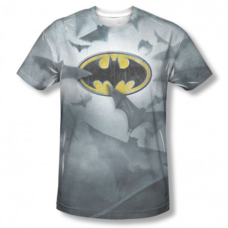 Batman Men's Gray Sublimation Foggy Logos T-Shirt