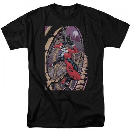Harley Quinn Gun In Hand Men's Black T-Shirt