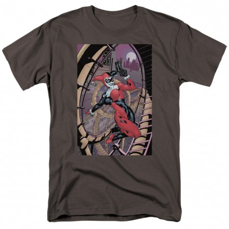 Harley Quinn Pistol Pose Men's Grey T-Shirt