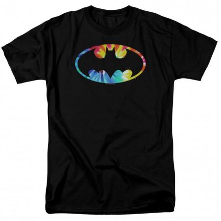 Batman Tie Dye Logo Men's Black T-Shirt
