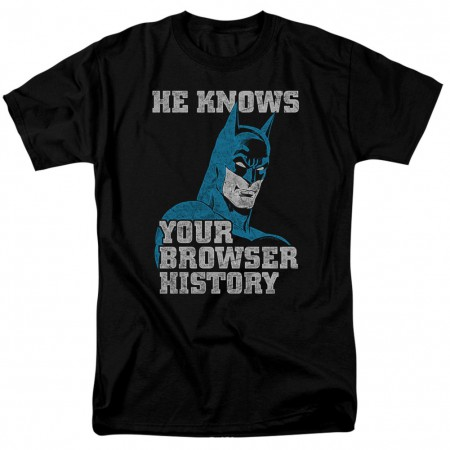 Batman Knows Your Browser History Men's Black T-Shirt