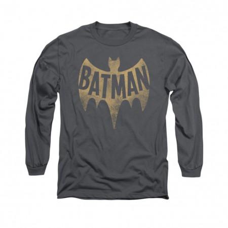 Batman Classic TV Logo Gray Long Sleeve T-Shirt