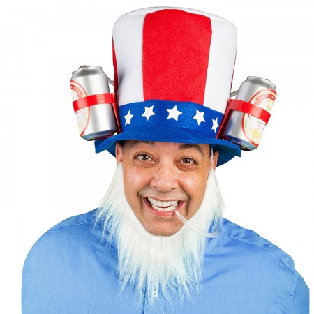 Uncle Sam Beer Drinking Hat