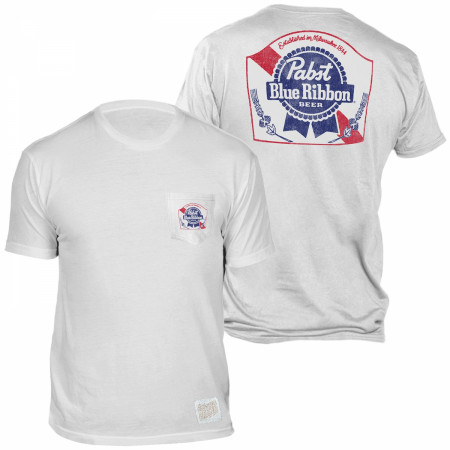 Pabst Blue Ribbon Beer Front and Back Print Pocket T-Shirt