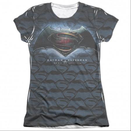 Batman v Superman Movie Logo Sublimation Juniors T-Shirt