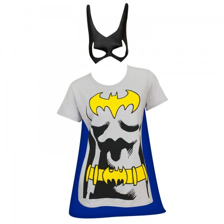 Batman Women's Grey Cape/Mask Costume T-Shirt