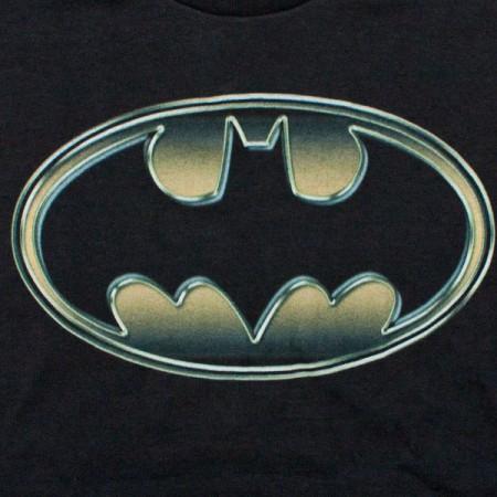 Batman Classic Golden Embossed Logo T-Shirt - Black