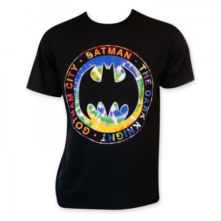 Batman Tie Dye Dark Knigt Logo Tee Shirt