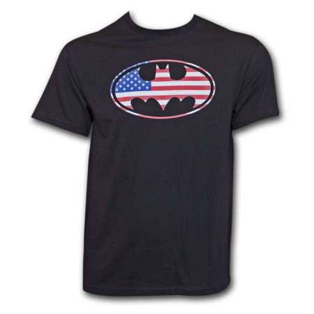 Batman American Flag Black T-Shirt