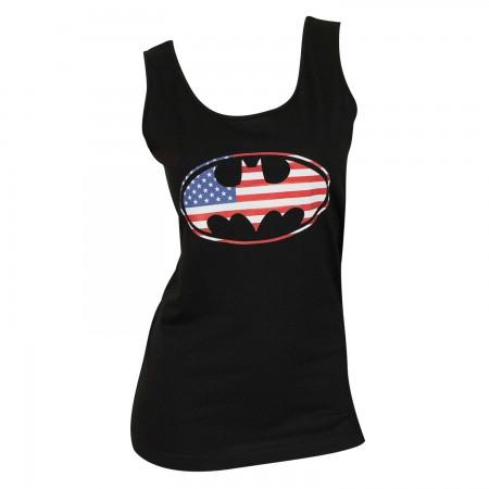 Batman Women's Black Tank Top With Patriotic Logo