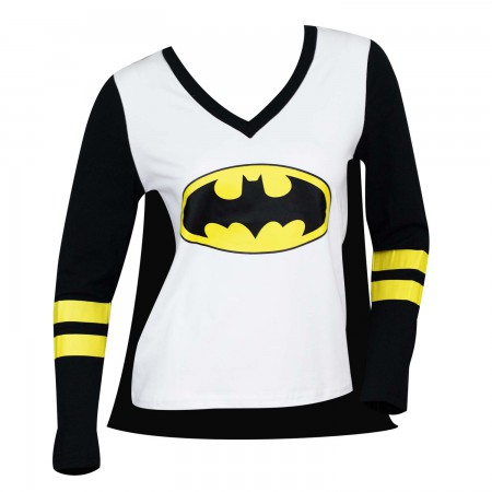 Batman Women's Caped Costume Varsity T-Shirt