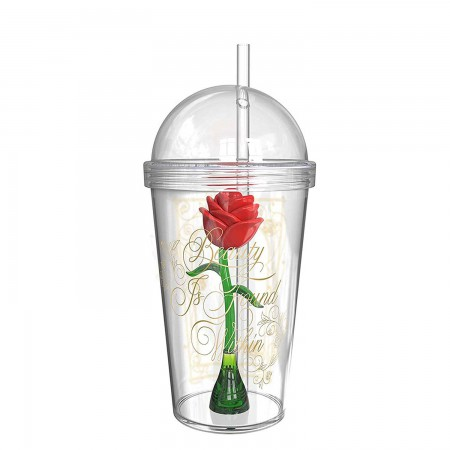 Beauty And The Beast Clear Magic Rose Cup With Straw