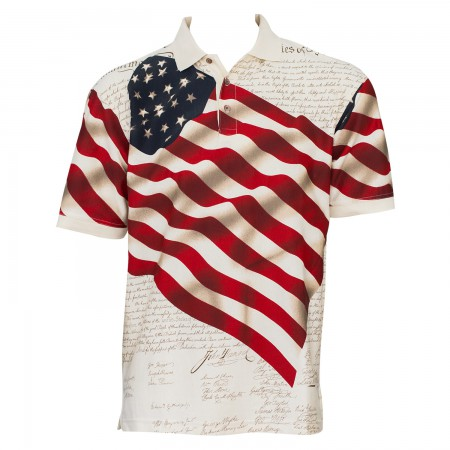 USA Patriotic Flag Men's Beige Polo Shirt