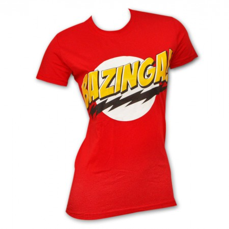 Big Bang Theory Bazinga Red Juniors Graphic T Shirt