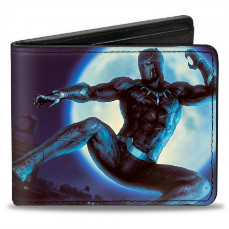 Black Panther Jump Kick Purple Rubber Wallet