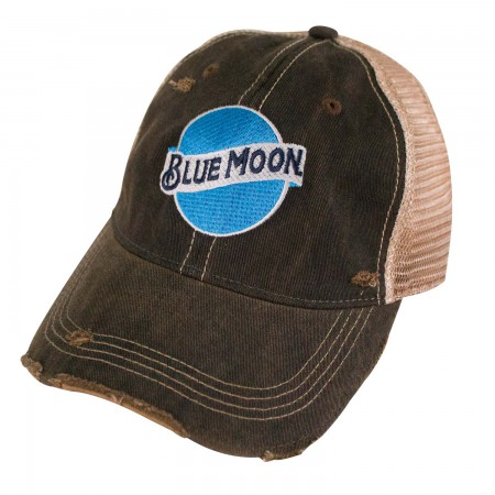 Blue Moon Logo Retro Brand Brown Mesh Trucker Hat