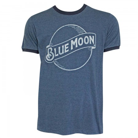 Blue Moon Beer Logo Men's Navy Blue Ringer T-Shirt