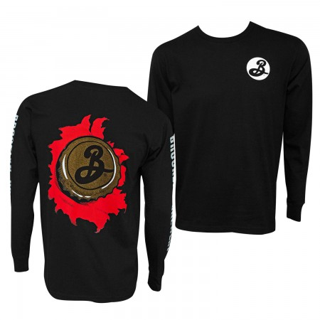 Brooklyn Brewery Long Sleeve Skater Men's Black T-Shirt