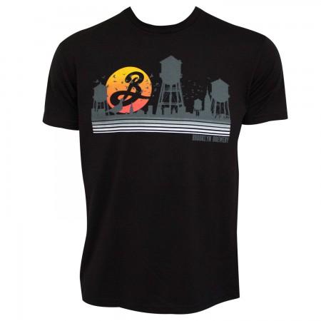 Brooklyn Brewery Beer Sunset Water Towers Men's Black T-Shirt