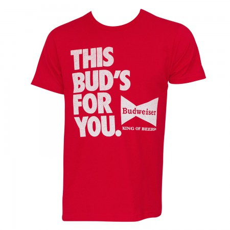 Budweiser Men's Red This Bud's For You T-Shirt